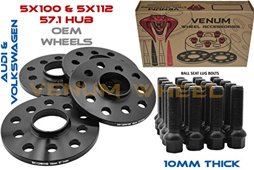 10 Mm Hub (4 Pc Audi Volkswagen 10 mm Black Hub Centric Wheel Spacers 5x100/5x112 ( 57.1 Hub Bore ) + 20 Black Ball Seat Lug Bolts)