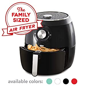 Dash DFAF455GBBK01 Deluxe Electric Air Fryer + Oven Cooker with Temperature Control, Non-stick Fry Basket, Recipe Guide…