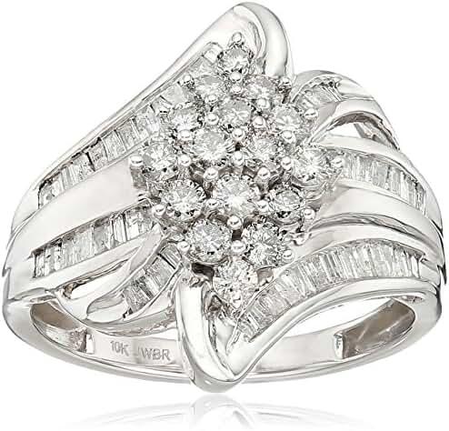 10k White Gold Diamond Cocktail Ring (1 cttw), Size 7