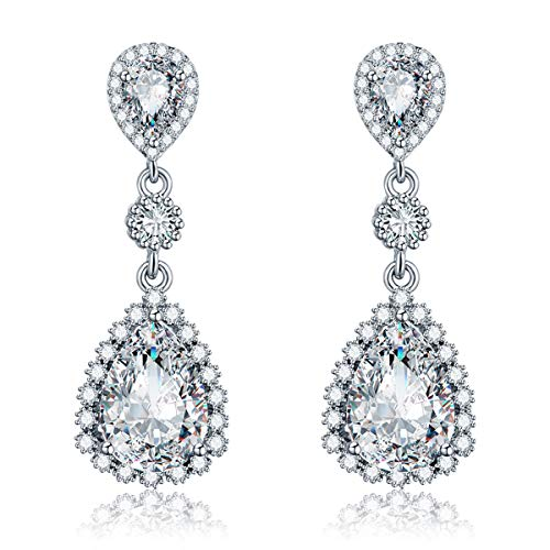 Womens Cubic Zirconia Gala Earrings - Sterling Silver Bridal Long Teardrop Crystal Rhinestone CZ Dangle Drop Earrings for Wedding Bride Bridesmaids Mother of Bride Party Prom Pageant Earring ()