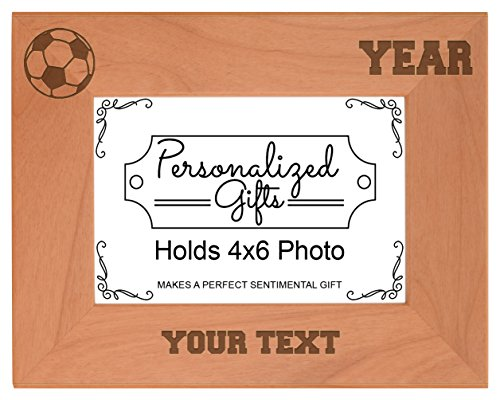 Custom Soccer Coach Gifts Add Text Year Personalized Natural Wood Engraved 4x6 Landscape Picture Frame