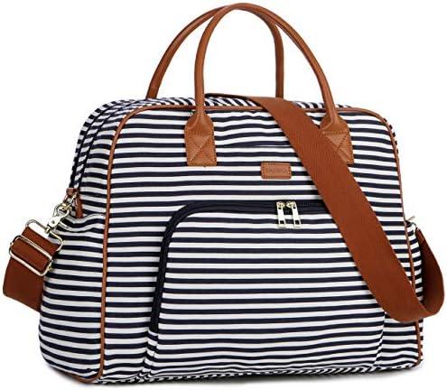 BAOSHA Canvas Carry On Weekender Overnight Travel Duffel Bag for Women HB-33 Blue Striped