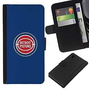Detroit Piston - Baloncesto - la tarjeta de Crédito Slots PU Funda de cuero Monedero caso cubierta de piel Para Sony Xperia Z1 L39
