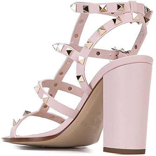 Women Strappy Studded Slingback Pink Block Rivets Sandals Comfity Sandals 9cm for Dress Heels Gladiator Cut Out Shoes qIXZEp