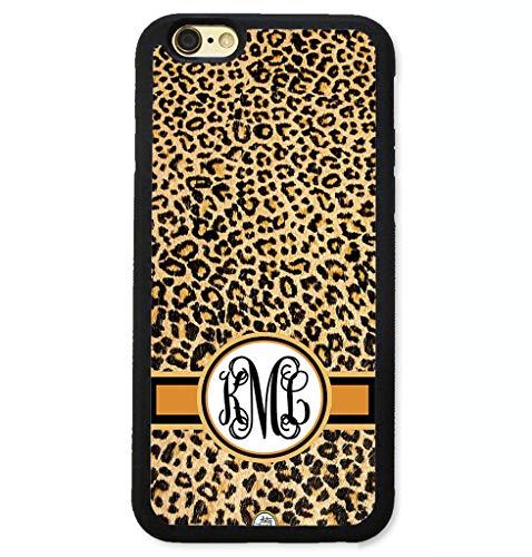 Personalized Leopard - iPhone XS Case, iPhone X Case, ArtsyCase Dark Brown Cheetah Leopard Print Personalized Monogram Phone Case for iPhone X and iPhone XS (Black)