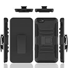 iPhone 6 case, Febe iPhone 6 Dual Layer Kickstand Case, Shockproof Hybrid Rugged Hard Soft Ultra Slim Fit Belt Clip Hostler Cover Case for iPhone 6 4.7 Inch - Black