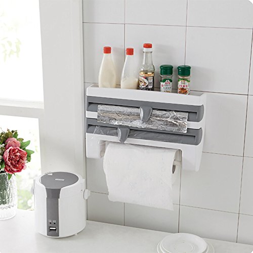 MOVEmen Creative Plastic Wrap Cutting Shelf Kitchen Cling Film Sauce Bottle Storage Rack Paper Towel Holder Kitchen Accessor Storage Shelf Home Decor Dinning Room Kitchen Article (Gray) (Creative Stand)