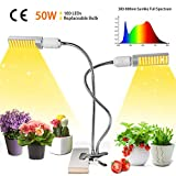 50W LED Grow Light,Growstar Sunlike Full Spectrum Grow Lamp,Dual Head 360 Degree Gooseneck Office Plant Light with Replaceable Bulb,Double Switch,for Indoor Plants Seedling,Growing,and Fruiting