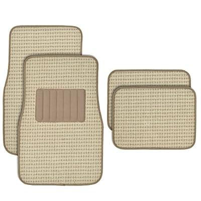 BDK MT302BG Premium Thick Plush Carpet Car Van SUV & Truck-Heavy Duty Woven Berber Style Floor Mat-4 Piece (Beige)