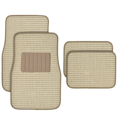 BDK MT302BG Premium Thick Plush Carpet Car Van SUV & Truck-Heavy Duty Woven Berber Style Floor Mat-4 Piece (Beige)