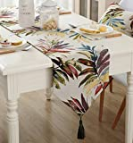 Various Sizes 100% Polyester ZebraSmile Leaves Table Runners with Tassels For Dining Table Decoration Home Decor 13 X 48 Inches