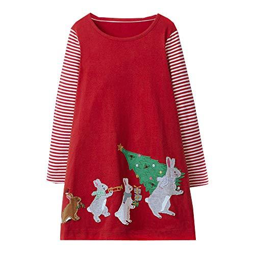 (VIKITA Toddler Girl Long Sleeve Cute Bunny Christmas Jersey Dress Baby Girls Winter Birthday (6T, JM7755))