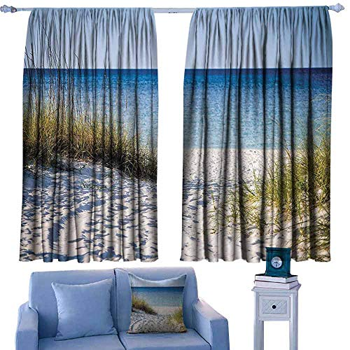 Mannwarehouse Breathable Curtain Seaside Decor Collection Path to The Beach Clear Sky Bushes Grasses Windy Sunny Day Peaceful Gulf of Mexico Picture 70%-80% Light Shading, 2 Panels, 63
