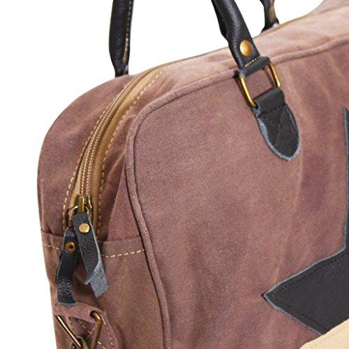 Festnight Modische Handtasche Umhängetasche 40x10x32cm Alltag Unisex Tasche aus Canvas + Echtleder mit 2 Stern Dekoriert - Braun