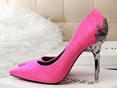Maybest Mujeres Ladies Lace Sexy Zapatos De Tacón Alto Evening Party Weeding Nupcial Corte Zapatos Bombas Rosa