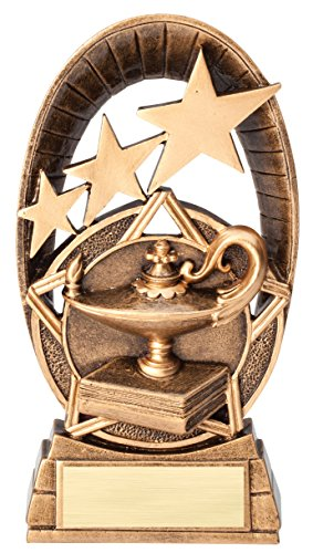 Etch Workz Customize Heavy Resin Casting Awrad - Lamp of Knowledge Education Radiant Star Series Trophy - 3D Action - Engraved & Personalized Free -