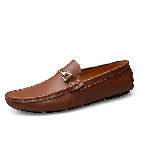 Jiuyue-shoes Mocasines para Hombres Zapatillas sin Cordones Mocasines de Cuero Genuino Mocasines Planos para