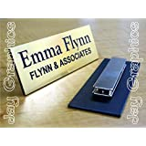 Custom Engraved 1x3 Brushed Gold Name Tag | Badge With Magnetic Closure | Employee Identification Plate Magnet Sign Personalized