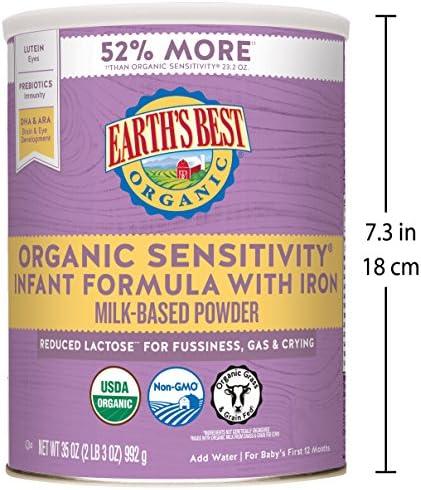 51OGBS6uWEL. AC - Earth's Best Organic Low Lactose Sensitivity Infant Formula With Iron, Milk-Based Powder, 35oz.
