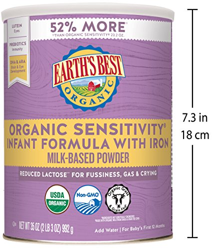 Earth's Best Organic Low Lactose Sensitivity Infant Powder Formula with Iron, Omega-3 DHA and Omega-6 ARA, 35 oz. by Earth's Best (Image #4)