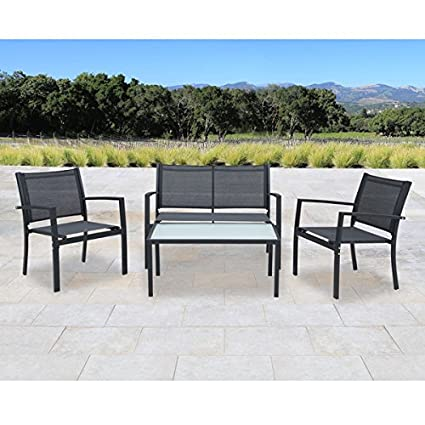 Amazon antonio 4 piece black steel textilene fabric outdoor antonio 4 piece black steel textilene fabric outdoor furniture set with glass tabletop workwithnaturefo