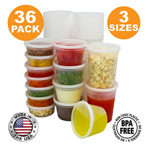 Round White Food (Food Storage Containers with Lids, Round Plastic Deli Cups, US Made, 8, 16, 32 oz, Cup Pint Quart Size, Leak Proof, Airtight, Microwave & Dishwasher Safe, Stackable, Reusable, White [36 Pack])
