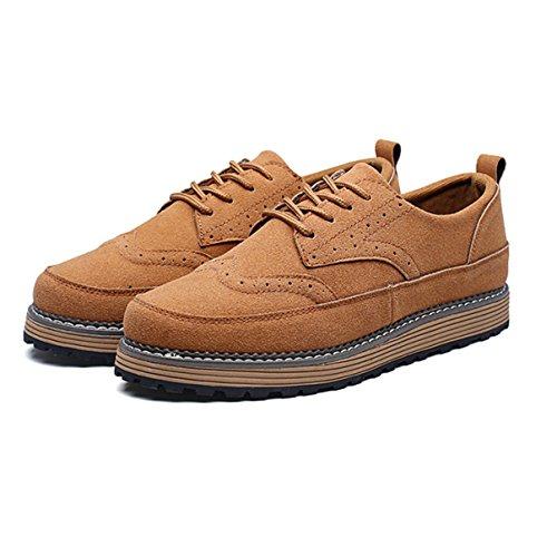 Homme Chaussure à Lacet en Velours Bas Bout Rond Plat Épais Smelle Travaille Smelle Antidérapant Brun 5mL4G