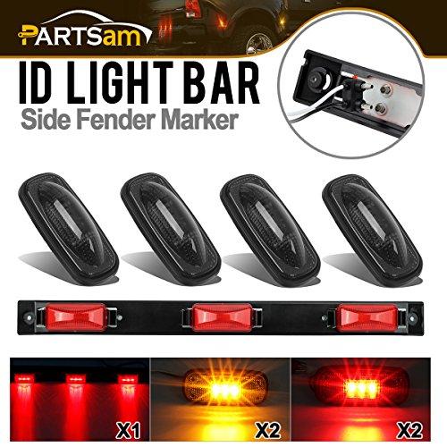 Partsam Led Marker Lights Kit Replacement for Dodge Ram Pickup Trucks, Red Led ID Tailgate Light Strip Bar Lights & Smoked Amber Red Led Side Fender Marker Lights Dually Bed Lights