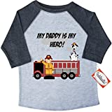 Inktastic Little Boys' My Daddy is my Hero Toddler T-Shirt 4T 3/4 Sleeve Heather Smoke