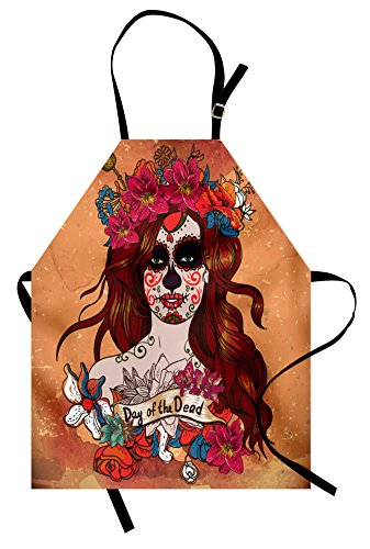 Ambesonne Day of The Dead Apron, Dia de Los Muertos Spanish Culture Mexican Festive Skull Art, Unisex Kitchen Bib Apron with Adjustable Neck for Cooking Baking Gardening, Cinnamon Magenta Maroon ()