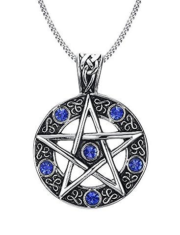 Men Women Wiccan Jewelry Stainless Steel Pentagram Pendant Necklace Blue (Fortunato Braccialetto Della Pietra Preziosa)