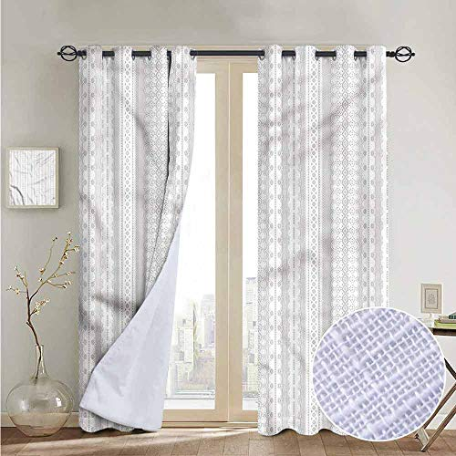 NUOMANAN Decorative Curtains for Living Room Grey and White,Lace Style Stripes,Blackout Draperies for Bedroom 52