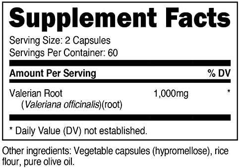 Nutricost Valerian Root Capsules 1000mg Per Serving 120 Capsules – Veggie Caps, Gluten Free and Non-GMO