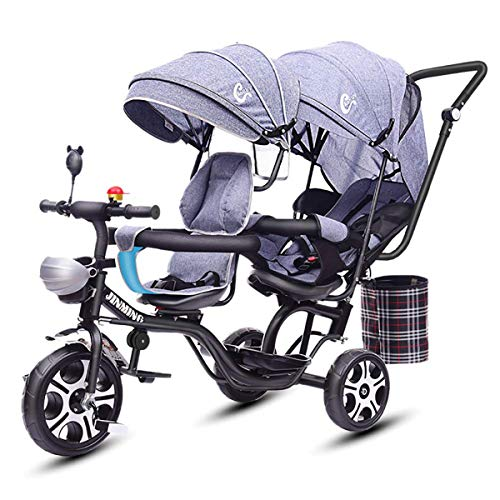 MeTikTok Detachable Twin Baby Stroller, Tricycle Tandem Children's Double Seat Cart Lightweight Front and Rear Folding Out Child Car Large Rotating Seat Reclining 1-7 Year Old Baby Carriage,Gray