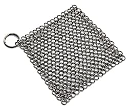 Cast Iron Cleaner Xl 7inch Premium Stainless Steel Chainmail Scrubber