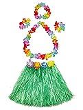 Girl's elastic Hawaiian hula dancer grass skirt with flower costume set-green