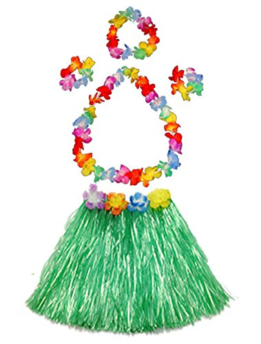 Girl's elastic Hawaiian hula dancer grass skirt with flower costume set-green