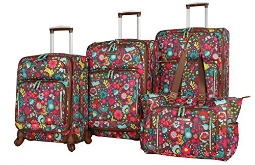 Lily Bloom Luggage Set 4 Piece Suitcase Collection With Spinner Wheels For...