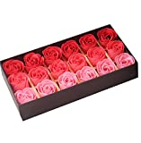 #6: 18PCS Bath Soaps Rose Flower Body Soap Gift Box for Valentine's Day Wedding Day (Gradient Red)