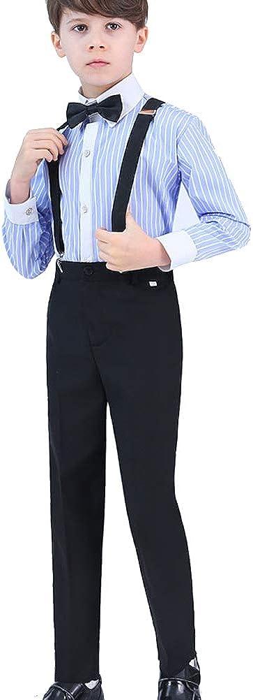 ARAUS Traje Completo con Tirantes Niño Camisa a Rayas Pantalones Corbata Traje de Coro Conjuntos 4 Piezas: Amazon.es: Ropa y accesorios