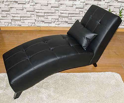 Merax modern chaise lounge chair black leatherette leisure for Chaise lounge black friday sale