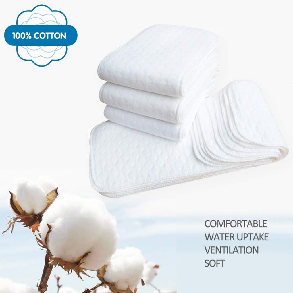 Dergtgh 10PCS r/éutilisables Couches pour b/éb/és Couches Lavables Inserts 1 pi/èce 3 Couche Insert 100/% Coton Lavable Baby Care Products