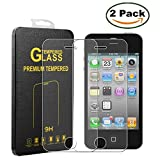 [2 Pack] Innker iPhone 4S Screen Protector, [Tempered Glass] 0.2mm Ballistic Glass Maximum Impact Protection 99.99% Crystal Clear HD Glass for iPhone 4S/4G [Lifetime Warranty]