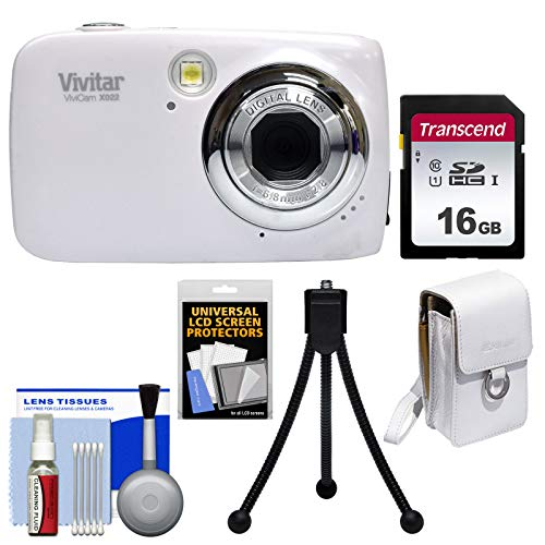 Vivitar Leather Case - Vivitar ViviCam VX022 Digital Camera (White) with 16GB Card + Case + Tripod + Kit
