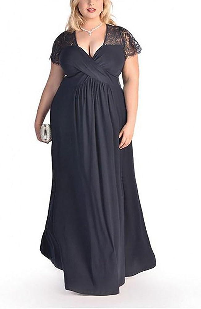 TALLA (EU64-66)6XL. Lover-Beauty Vestido Largo Mujer Talla Grande Moda Bolsillo Top Falda para Fiesta Verano Manga Corta Floral Estampada Suleto Moda de Ropa Elegante Maxi Azul Purpúreo (EU64-66)6XL