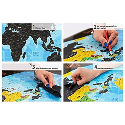 50 Off Scratch Off World Map Black Poster With Us States Complete Accessories Set