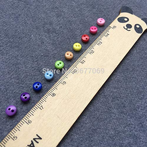 Pukido 500pcs 6mm Round Resin Mini Buttons Sewing 2 Holes Tiny Doll Clothes Button for Scrapbooking Cardmaking Garment Accessories - (Color: Fuchsia)