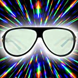 GloFX Aviator Rave Party Diffraction Glasses - Black Tinted