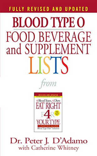 Blood Type O Food, Beverage and Supplement Lists (Eat Right 4 Your Type)