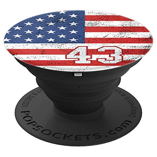 American USA Flag with number 43 in gray and red phone stand - PopSockets Grip and Stand for Phones and Tablets ()